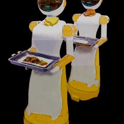 成都市餐厅机器人、送餐机器人、送菜机器人、红美机器人设备厂家直销