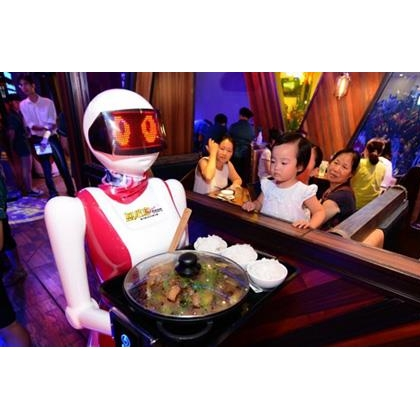 太原市餐厅机器人、送餐机器人、送菜机器人、红美机器人设备厂家直销
