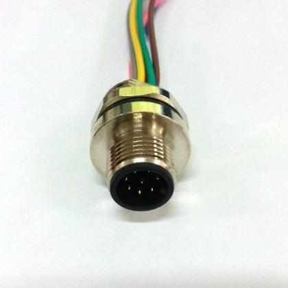 M12插座- M12圆法兰带线插座