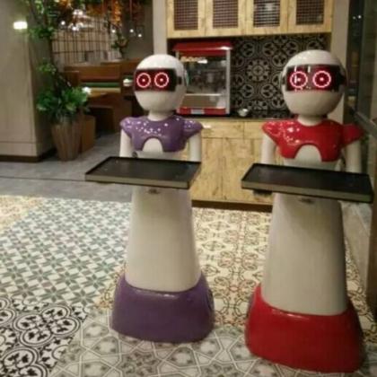 美女送餐机器人,机器人代理,智能送菜机器人