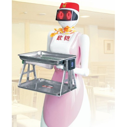 """深圳欧铠""""美女一号""""送餐机器人招揽客户节约人工能送餐还能聊天"""