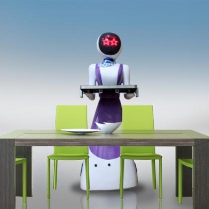 美女送餐机器人