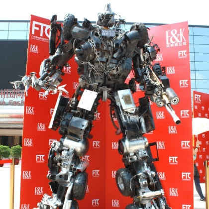 示迎宾机器人租赁定制出售广州金属诱惑智能艺术机器人厂家餐厅KTV摆设高约3米