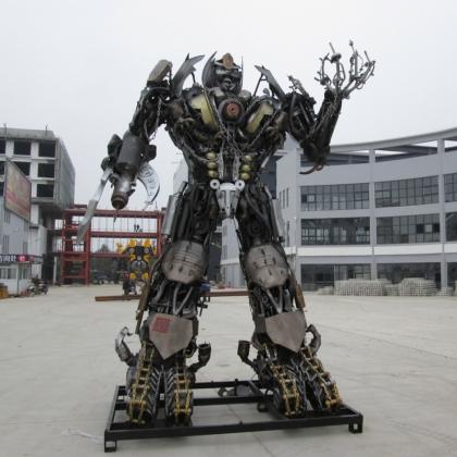 展会动房地产暖场机器人道具迎宾机器人定制租赁金属诱惑智能艺术机器人厂家高约4.5米