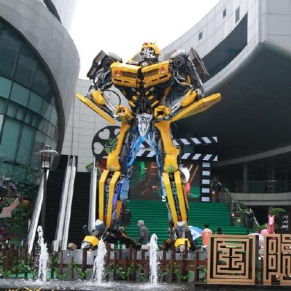 示迎宾机器人租赁定制出售广州金属诱惑智能艺术机器人厂家餐厅KTV摆设高约7米