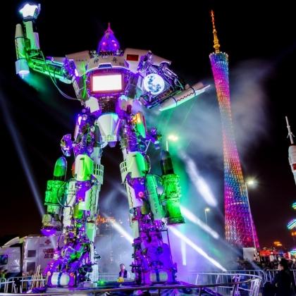 广州金属诱惑智能艺术机器人迎宾展示活动暖场道具机器人高12米