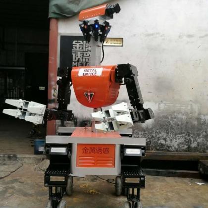 高约1.7米红色四轮智能机器人能唱歌会跳舞手臂灵活舞动,身体绚丽灯光