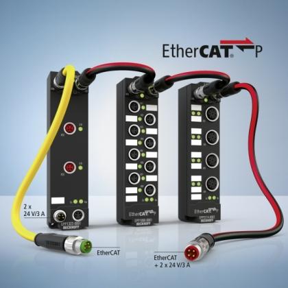 EtherCAT P 拥有多种 IP 67 I/O 选项