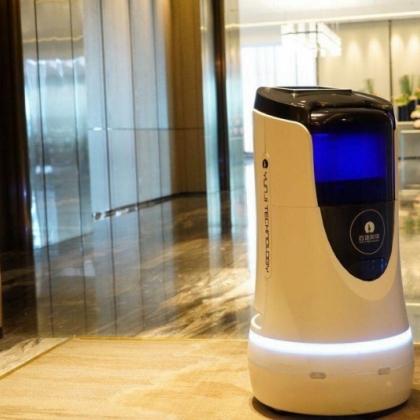 37层办公楼,6台智能楼宇服务机器人,自动上电梯送快递送快餐12小时不停
