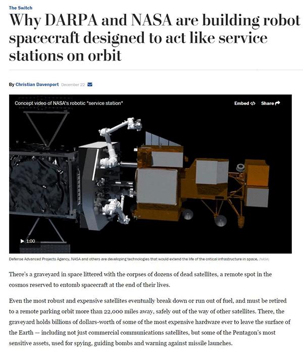 美国研发航天机器人修理卫星,可延长卫星生命