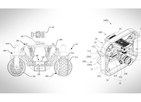 """大疆""""无人车""""新专利图曝光 这是个不会飞的无人机"""